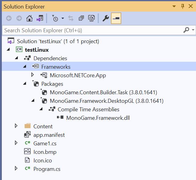 Dependencies in Visual Studio 2019