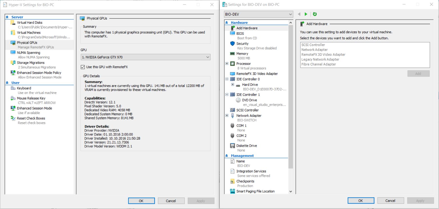 Running Default Template Of Windx On Hyper V Vm Works But Wingl